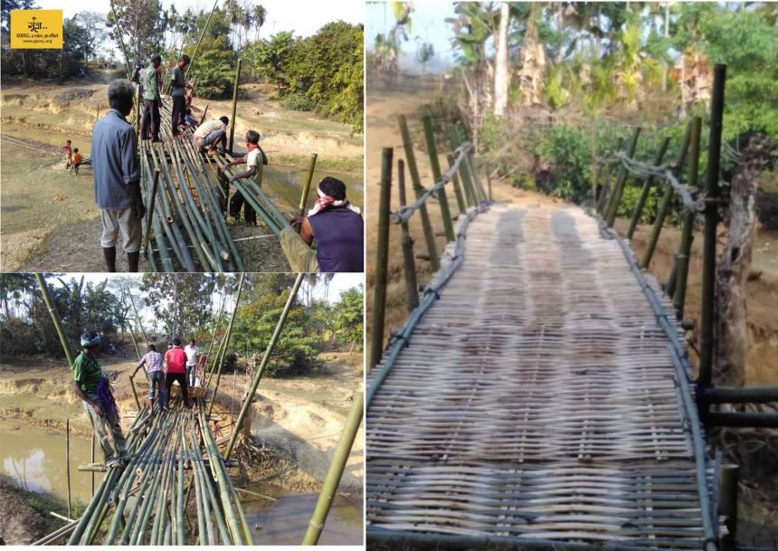 50 people of Langtha, Golaghat Assam built this 100 ft X 6ft bamboo bridge, just in 3 days!